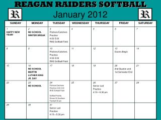 REAGAN RAIDERS SOFTBALL January 2012