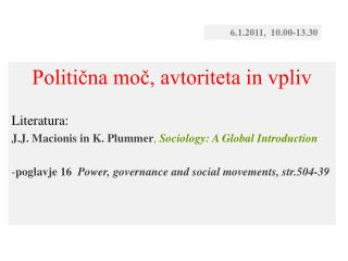 Politična moč, avtoriteta in vpliv Literatura: