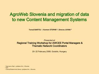 AgroWeb Slovenia and migration of data to new Content Management Systems