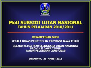MoU SUBSIDI UJIAN NASIONAL TAHUN PELAJARAN 2010/2011 DISAMPAIKAN OLEH
