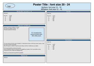 Poster Title : font size 20 - 24