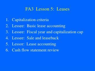 FA3  Lesson 5:  Leases