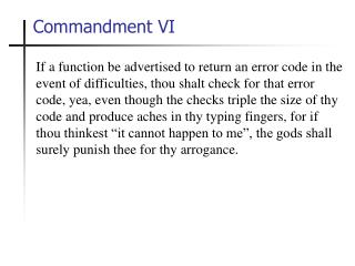 Commandment VI