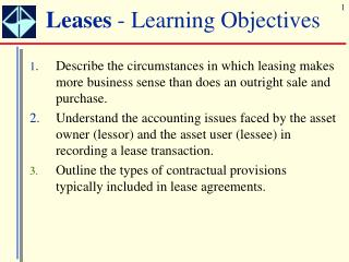 Leases - Learning Objectives