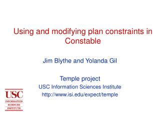Using and modifying plan constraints in Constable