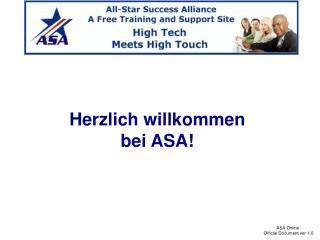Herzlich willkommen bei ASA!