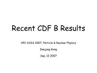 Recent CDF B Results