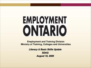 Literacy & Basic Skills Update  SDAG  August 18, 2009