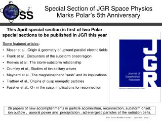 Special Section of JGR Space Physics Marks Polar's 5th Anniversary