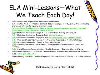 ELA Mini-Lessons What We Teach Each Day