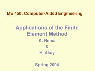 ME 450: Computer-Aided Engineering