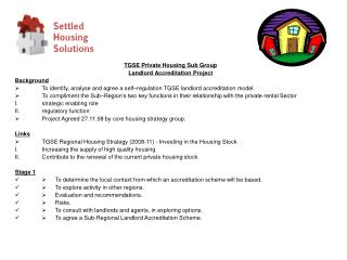 TGSE Private Housing Sub Group Landlord Accreditation Project Background