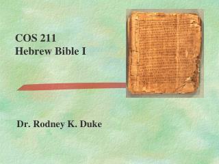 COS 211  Hebrew Bible I