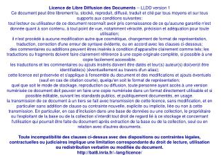 Licence de Libre Diffusion des Documents  -- LLDD version 1