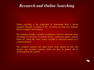 Research and Online Searching