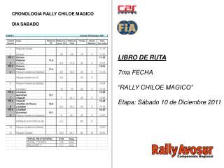 """LIBRO DE RUTA 7ma FECHA  """"RALLY CHILOE MAGICO"""" Etapa: Sábado 10 de Diciembre 2011"""