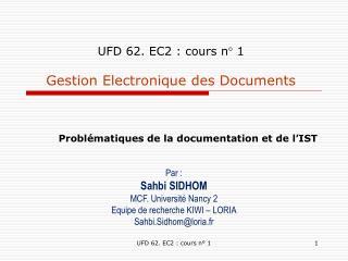 UFD 62. EC2 : cours n° 1 Gestion Electronique des Documents