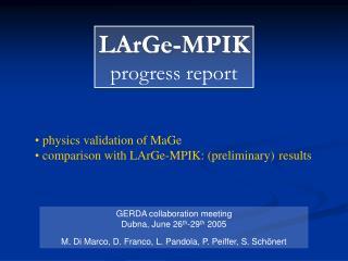 LArGe-MPIK progress report