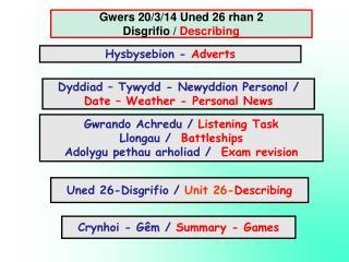 Gwers 20/3/14 Uned 26 rhan 2 Disgrifio /  Describing