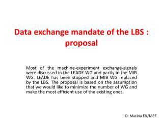 Data exchange mandate of the LBS : proposal
