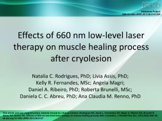 Effects of 660 nm low-level laser therapy on muscle healing process after cryolesion