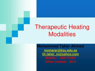 Therapeutic Heating Modalities