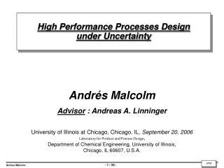 High Performance Processes Design  under Uncertainty