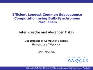 Efficient Longest Common Subsequence Computation using Bulk-Synchronous Parallelism