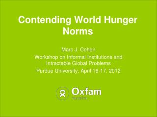 Contending World Hunger Norms