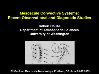 Mesoscale Convective Systems:  Recent Observational and Diagnostic Studies Robert Houze