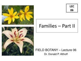 FIELD BOTANY – Lecture 06 Dr. Donald P. Althoff