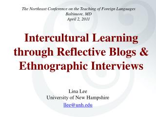 Intercultural Learning through Reflective Blogs & Ethnographic Interviews