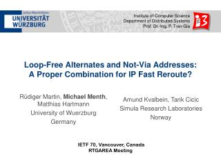 Loop-Free Alternates and Not-Via Addresses: A Proper Combination for IP Fast Reroute?
