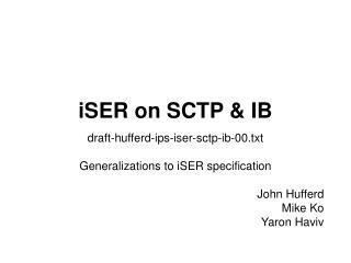 iSER on SCTP & IB