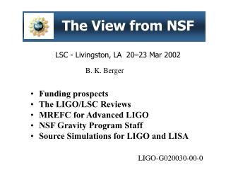 The View from NSF