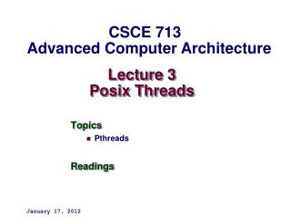Lecture 3 Posix Threads