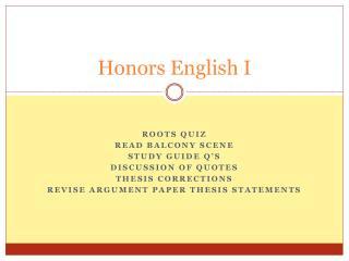 Honors English I