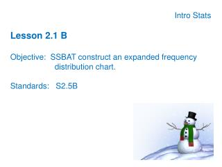 Intro Stats Lesson 2.1 B Objective:  SSBAT construct an expanded frequency 			distribution chart.
