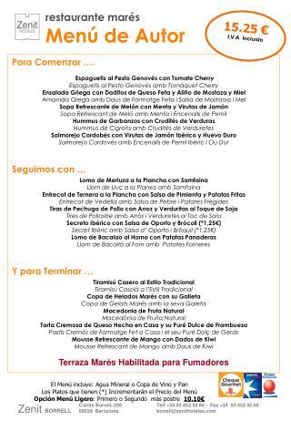 restaurante marés Menú de Autor