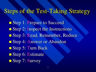 Steps of the Test-Taking Strategy