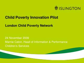 Child Poverty Innovation Pilot London Child Poverty Network