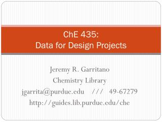 ChE 435: Data for Design Projects