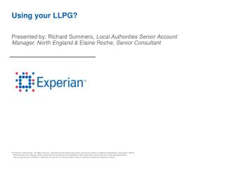 Using your LLPG?