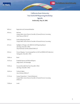 California State University Year-End GAAP Reporting Workshop Agenda Wednesday, May 24, 2006