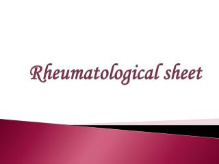 Rheumatological sheet