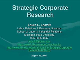 Strategic Corporate Research