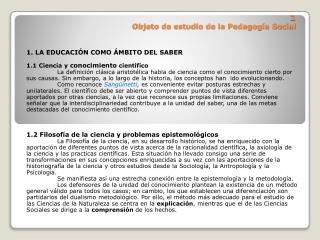 2  Objeto de estudio de la Pedagogía Social