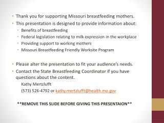 Thank you for supporting Missouri breastfeeding mothers.