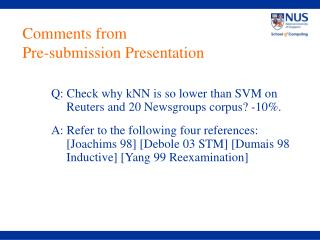 Comments from  Pre-submission Presentation