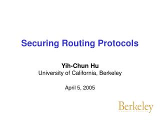 Securing Routing Protocols